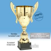 TC034.61ML Goudkleurige Award met cup en oren (in 6 hoogten van ± 26 t/m 49 cm - Prijs vanaf € 17,95 t/m € 51,95)