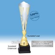TC044.73MT - Zilverkleurige trofee met gouden accenten en ster in kelk (in 3 hoogten van ± 45 t/m 49 cm - Prijs vanaf € 22,95 t/m € 28,95)