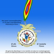 TC53D-GG Carnavalsmedailles Goudglans Metaal ø70mm. met gratis halslint