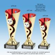 TC1168ST - Kunststof trofee schulp met goud en rood + afb. naar keuze (± 15-19 cm)