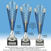 TC180X-BL04 Zilverkleurige kunststof trofee met blauwaccenten + afb. 25mm naar keuze (± 32 - 35,5cm hoog)