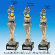 """TC150X22-FX008 - Kunststof trofee """"FLEX"""" op marmer blok incl. TENNISRACKET (± 25-29cm hoog)"""