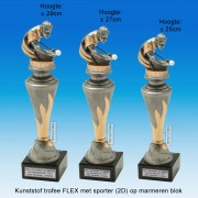 """TC150X22-FX010 - Kunststof trofee """"FLEX"""" op marmer blok incl. BILJARTER (± 25-29cm hoog)"""