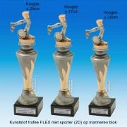 """TC150X22-FX038 - Kunststof trofee """"FLEX"""" op marmer blok incl. HARDLOPEN (± 25-29cm hoog)"""