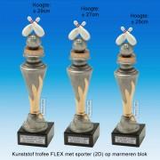 """TC150X22-FX040 - Kunststof trofee """"FLEX"""" op marmer blok incl. BOWLEN(± 25-29cm hoog)"""