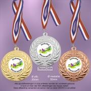 TC111D Medailles van Hoogglans Metaal Ø 50mm. met gratis breed halslint - gewicht ±31 gram
