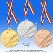 TC112DC Medaille ZWEMMEN van Hoogglans Metaal Ø 50mm. incl. gratis halslint en tekst achterzijde medaille - gewicht ±30 gram