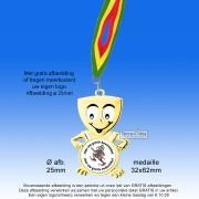 TC42DA Medaille Goudkleurig Metaal Hoogglans 32x62mm. met gratis Halslint - gewicht  ±20 gram