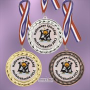 TC94D Medailles van Hoogglans Metaal Ø 70mm. met gratis breed halslint - gewicht ±38 gram
