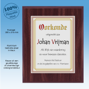 """TCH156c Plaquette Hout Oorkonde """"Modern"""" (300 x 375mm Extra groot)"""