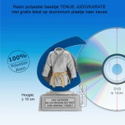 TC259FG  - Resin standaard TENUE JUDO/KARATE met blauw accent (± 10 cm) MET VOLUMEKORTING!