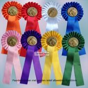 TCPR01KR Rozet met goudkleurig paardenhoofd - 30cm lang, ø krans 10 cm